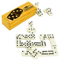 >Set of 28 Double Six Dominoes with Brass Spinners
